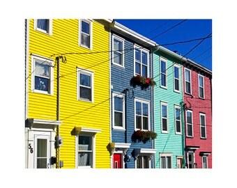 Jelly Bean Row Art, Downtown St. John's Art, Colorful Row Houses, Newfoundland Art, Newfoundland Photography, Canada Art, Heritage Houses