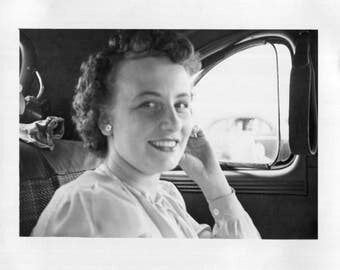 Vintage Photo..Pretty Girl in the Backseat, 1950's Original Found Photo, Vernacular Photography