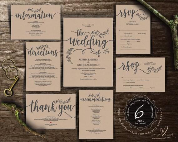 We do wedding invitation cards suite instant download pdf we do wedding invitation cards suite instant download pdf editable template kraft rustic calligraphy design theme wedding set ted4181 stopboris Gallery