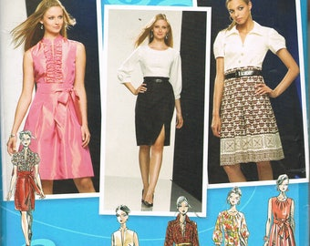 Size 4-12 Misses' Dress Sewing Pattern - Tuxedo Ruffle Dress Pattern - Top Skirt Dress Pattern  - Simplicity 2724