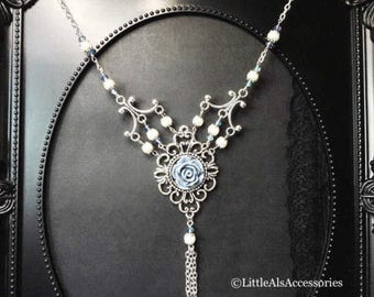 Blue Floral Tassel Necklace, Silver Tassel Necklace, Tassel Necklace, Filigree Necklace, Silver Floral Necklace, Flower Necklace, Y Necklace