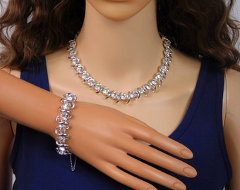 Crystal Wedding Jewelry Necklace Bracelet Earrings Coro Rhinestone Rhodium Bridal Necklace Jewelry Vintage 1940's Coro Jewelry