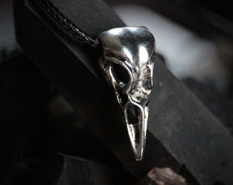 Raven Spirit Guardian Necklace, Black Vegan Leather, Crow Taxidermy Spirit Guide, Crystal Healing, Base Chakra, Wiccan Protection, Grounding