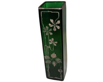 Antique green glass vase w/ gilded floral designs
