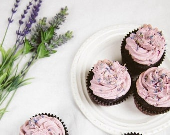 Vegan Lavender Chocolate Cupcake Candles that look good enough to eat!