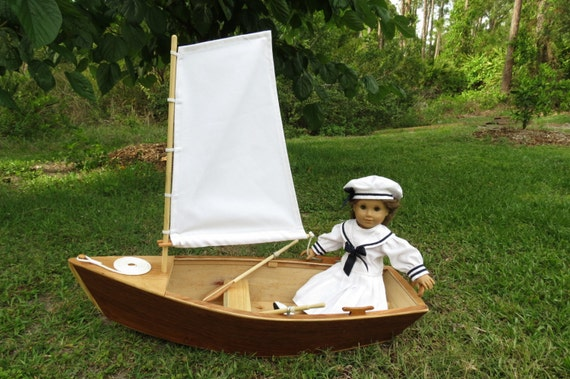 DOLL BOAT, Wood Skiff Sailboat Handcrafted for 18 Inch dolls such as American Girl® with Hand-Carved Oars,  Sail and Lines