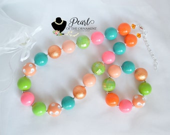 teal salmon pink peach lime green chunky necklace bracelet baby toddler girl women adult flower girl bridesmaid photo prop birthday gift