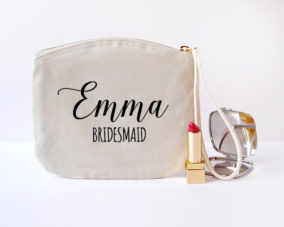 Ivory Personalised Calligraphy Bridesmaid Gift Makeup Bag