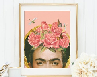 Frida Kahlo print - Flower collage art poster- Colour Pale dogwood