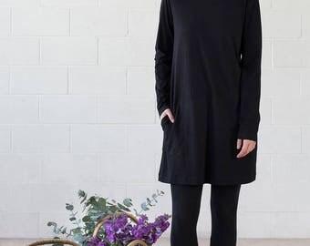 Organic Cotton Black Tunic Dress - Winter Rose Dress