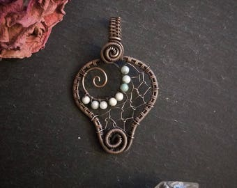 Faerie Web pendant in Copper, Silver, and Gemstones
