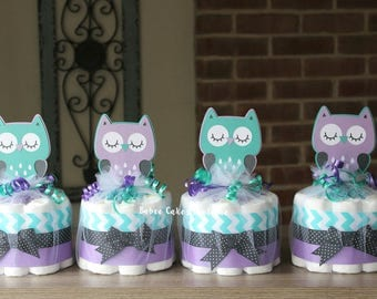 owl baby shower purple teal owl centerpiece decor owl chevron