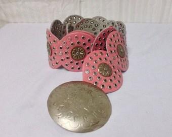 Pink ,Moroccan belt, Boho Belt, Round Buckle,silver tone