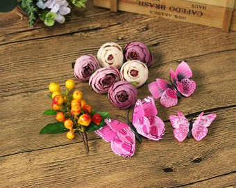 10 hair pins and clips set gift box headpiece orange red yellow fruit pink pastel sharp magenta butterfly flower