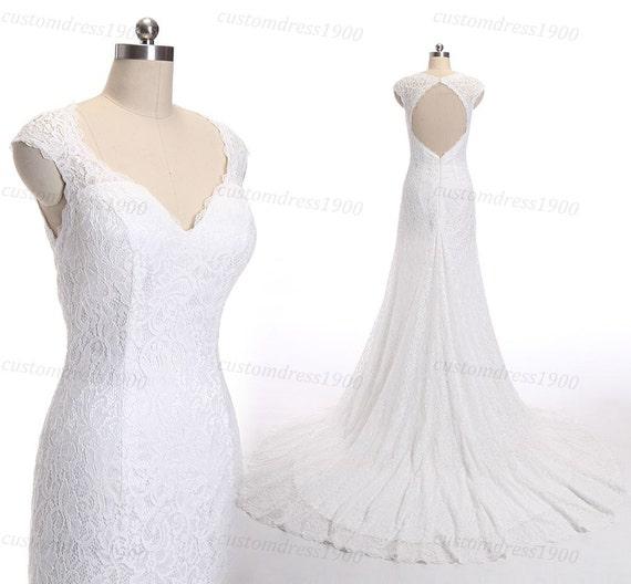 Key Hole Backless Lace Wedding Dress Cap Sleeve By Customdress1900