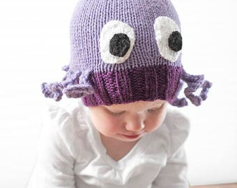 Mini Octopus Hat KNITTING PATTERN - knit hat pattern for babies, infants - sizes 0-3 months, 6 months, 12 months, 2T+