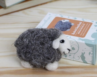 Herdwick Sheep Brooch Needle Felting Kit – Sheep Brooch Craft Kit – craft kit gift – felt sheep brooch project – sheep craft kit for adults