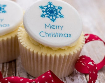 Christmas Cupcake Toppers - edible sugar cupcake decorations (pack of 12)