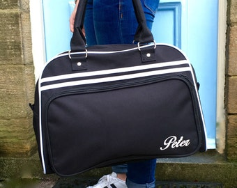 Personalised Weekend Bag Black with Name Retro Styling Great for a Weekend Away Girls Sleepover Bag Children's Sleepover Bag Red Black Blue