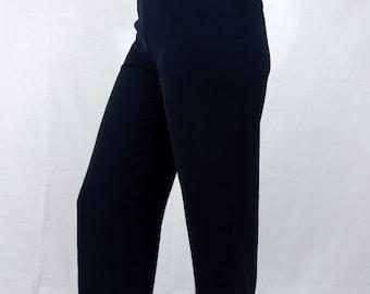 Vintage 80s 90s Blue Straight Leg Pant Well Fitted High Waist Light Summer 36 38 S M Women Womens