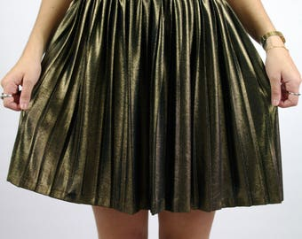 Vintage 80s 90s Short Pleated Skirt Gold Party Disco Elastic Women S