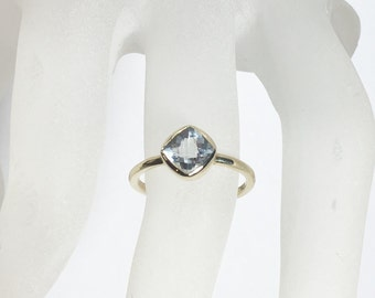 25% OFF Aquamarine 14K Gold, Made to Order, Yellow Gold, low profile, non traditional, white topaz, garnet, amethyst also available