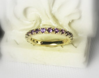 Gemstone Eternity Band, Customized, 14K Gold Anniversary Band, Wedding Ring