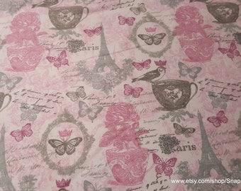 Flannel Fabric - Feminine Pink Paris - 1 yard - 100% Cotton Flannel