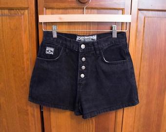 "90s Classic No Excuses Black Denim High Waisted Shorts -Size 7/8 Juniors- 26"" Waist"
