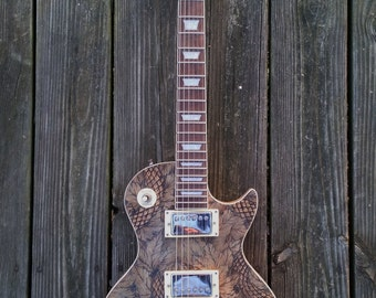 Unique Custom Les Paul Style Wood Burned Mahogany Guitar Instrument Painted and Built by Stephen Willey of Eyes On Fire