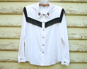 Vintage 90s Shirt Western White Fringe Embroidered Cowboy Blouse Semi Sheer Vtg 1990s Size S-M