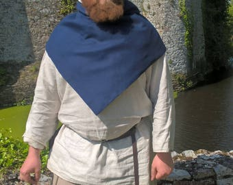 Viking hood Skjoldhamn hood blue wool dark high quality, natural linen lining