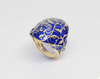 14k Gold Blue Enamel Ring Sz 9 Poinsettia Pierced  Plique A Jour