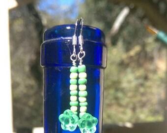 Sterling Silver Green Flower Glass Beaded Earrings
