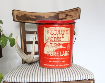Vintage Tin Pure Lard Can Southern Belle Brand Vintage 8 lb Can Vintage Home Decor Tupelo Mississipi Red Metal Can with Handle Southern Home