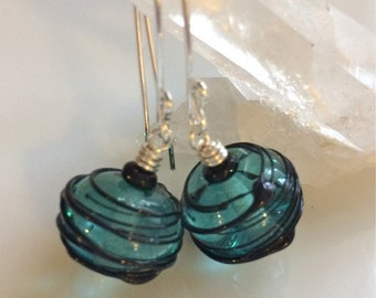 Teal Glass Earrings  Hollow Glass Beads  Sterling Silver Earrings