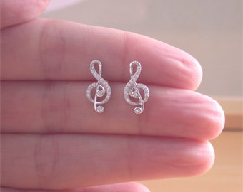 925 Cz Treble Clef Earrings/Cz Musical Note Stud Earrings/Music Earrings/Treble Clef Jewelry/Treble Clef Jewellery/Music Jewellery/Music