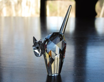 Vintage SWAROVSKI Crystal, Tom Cat 198241,  Retired, 1996, Collectible Figurine, Clear Glass,Real,Fine,Small Sculpture,Pets,Domestic Animals