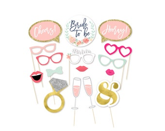 Bridal Shower Photo Booth Props - Photo Props - Bachelorette Party Props - Bride to be - Watercolor - Wedding Shower - She said yes -Party