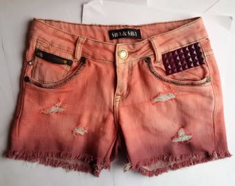 90s pink studded shorts tie-dye
