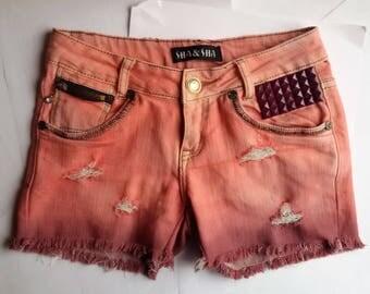 90s pink studded shorts tie-dye
