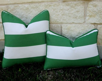 Green and White Outdoor Pillow Cover- Green and White Stripe Pillow Cover - Emerald Green Outdoor Pillow Cover-Green Cabana Stripe Pillow