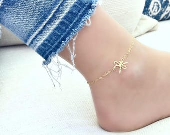 14k gold filled dragonfly anklet rose quartz gemstone anklet dragonfly jewelry minimalist anklet rose quartz jewelry gold anklet dragonfly
