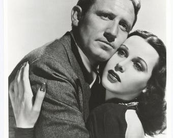 1970s Spencer Tracy and Hedy Lamarr National Film Archive Photo / Hollywood Vamp Pin Up Art Deco Actor Actress Star Legend Gigantic Photo