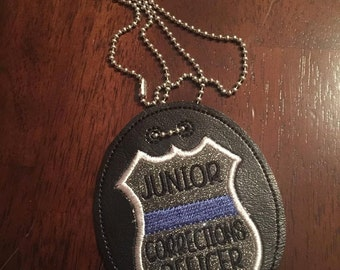 Junior Corrections Officer Badge -  NECKLACE - POLICE - Cop - Law Enforcement - In The Hoop - Digital Embroidery Design