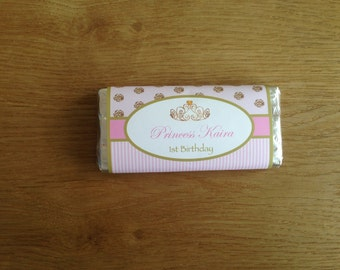 Pink and Gold Princess Personalised Chocolate Wrappers