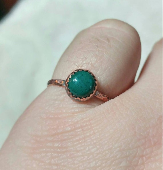 Simple Green Stone Ring | Copper Ring Sz 8.25 | Malachite Ring | Chrysocolla Ring | Green Blue Stone Ring | Boho Ring | Rustic Stone Ring