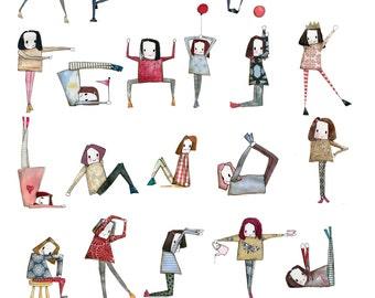 Minimie ABC yoga poster A3