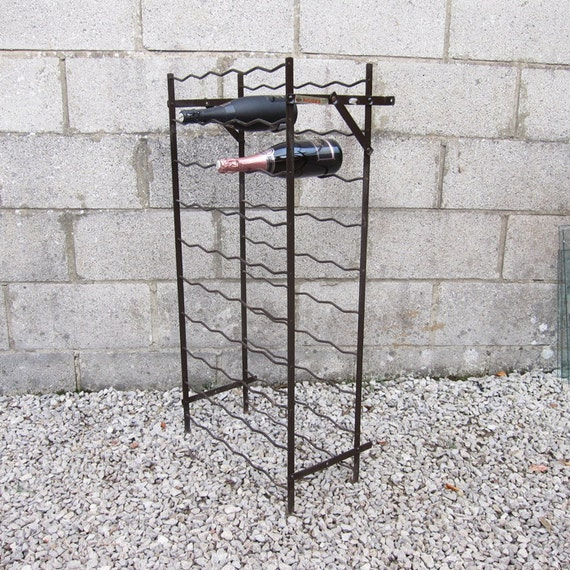 Metal Wine Bottle Rack Brown Kitchen Storage Mid Century Original French 1960s Rigidex