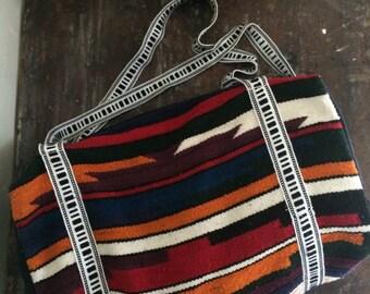 vintage south american duffel bag // ecuadorian travel satchel // 1980s woven wool luggage